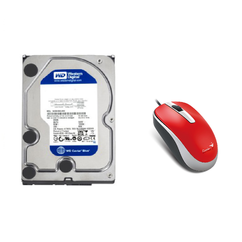 (BUNDLE) WD 1TB WD10EZEX HDD + GENIUS DX-120 RED MOUSE