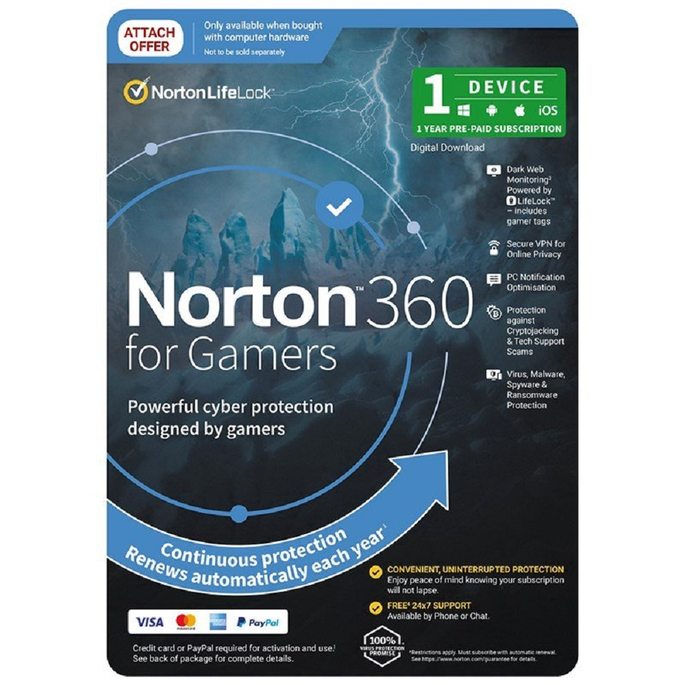 Norton 360 for Gamers 1 Device 1 Year Digital licenceEmail