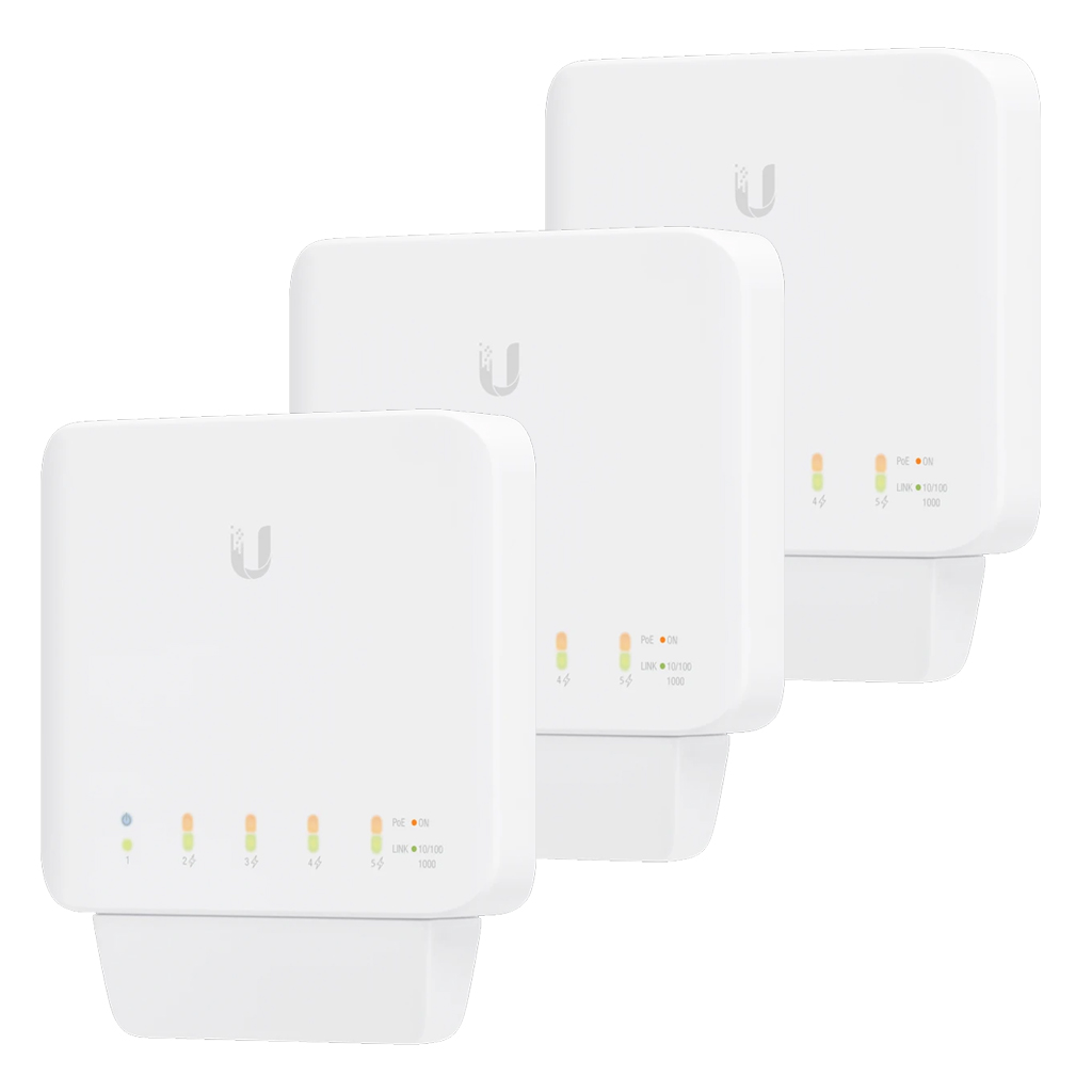 Ubiquiti USW Flex 3 Pack- Managed, Layer 2 Gigabit switch with auto-sensing 802.3af PoE support. 1x PoE In, 4x PoE Out