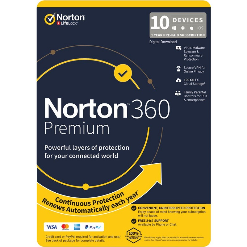 Norton 360 PREMIUM 10 Devices (PC/Mac) 1 Year
