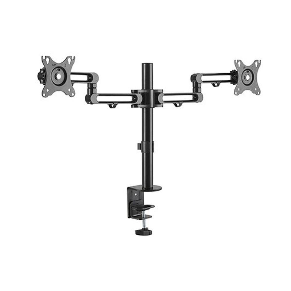 Brateck Dual Monitor Premium Aluminum Articulating Monitor Arm Fit Most 17'-32' Monitors Up to 8kg per screen VESA 75x75/100x100
