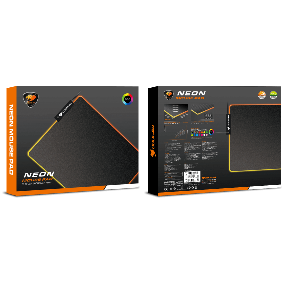 Cougar Neon RGB Gaming mouse pad 350 x 300 x 4 mm