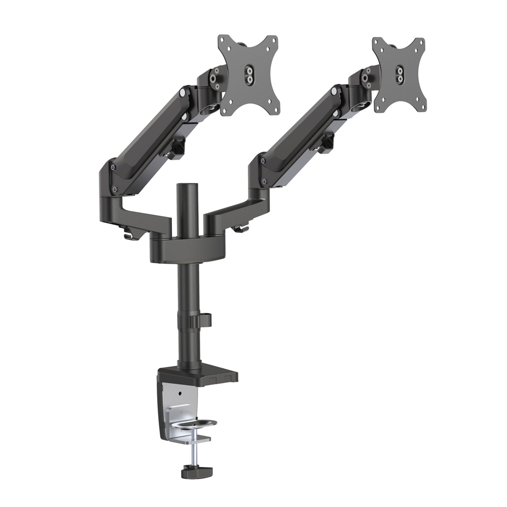 Brateck Dual Monitors Heavy-Duty Aluminum Gas Spring Monitor Arm Fit Most 17''-32'' Up to 12kg per screen VESA 75x75/100x100