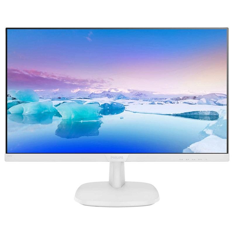 """Philips 243V7QDAW 23.8"""" IPS White monitor HDMI DVI VGA SPK"""