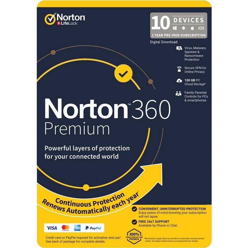 Norton 360 Premium 10 Devices 1 Year Email Key