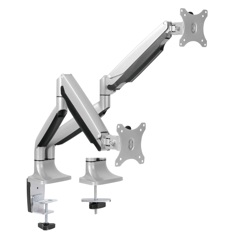 Brateck Dual Monitor Aluminum Interactive Counterbalance Monitor Arm Fit Most 13''-32''  Monitors Up to  9kg per screen VESA 75x75/100x100