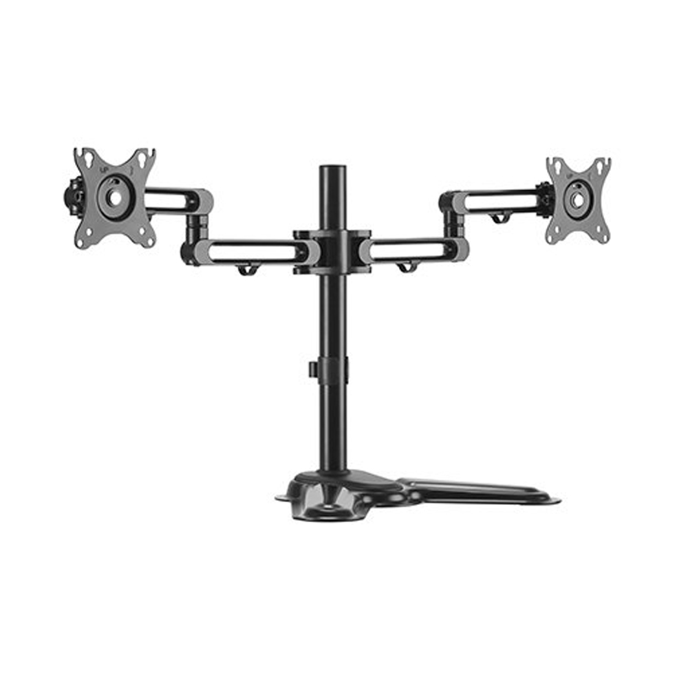 Brateck Dual Free Standing Monitor Premium Articulating Aluminum Monitor Stand Fit Most 17'-32' Monitors Up to 8kg per screen VESA 75x75/100x100