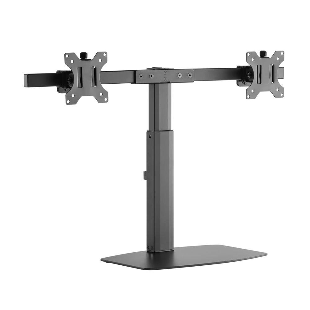 Brateck Dual Free Standing Screen Pneumatic Vertical Lift Monitor Stand Fit Most 17?-27? Monitors Up to 6kg per screen VESA 75x75/100x100