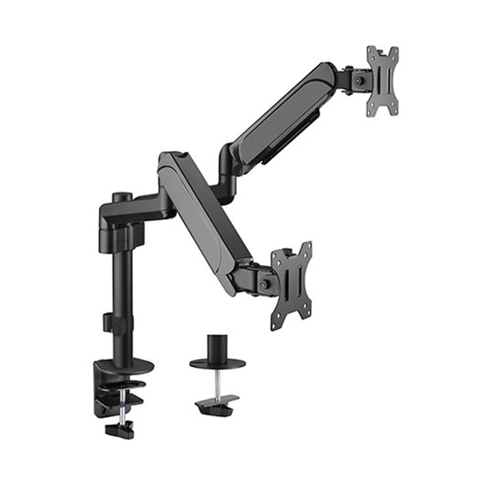 Brateck Dual Monitors Pole-Mounted Gas Spring Monitor Arm Fit Most 17'-32' Monitors Up to 9kg per screen VESA 75x75/100x100