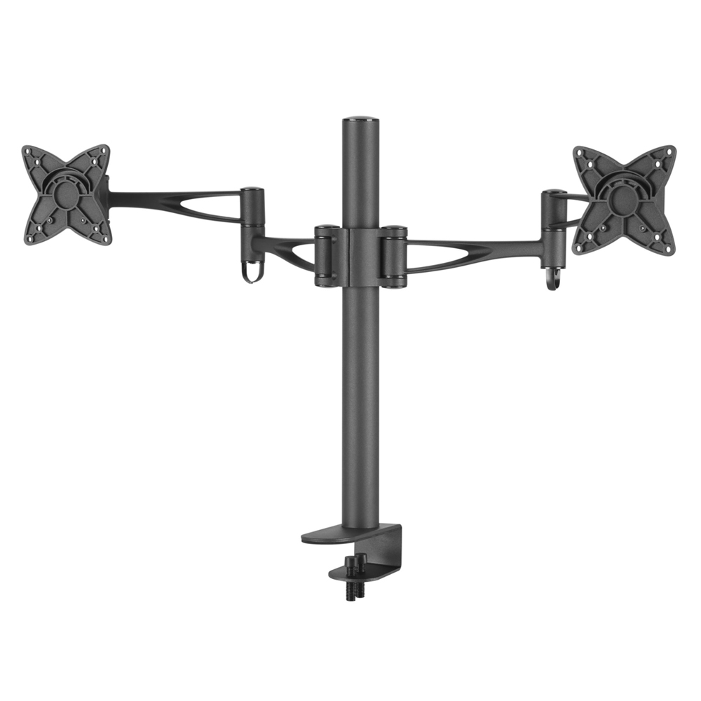 Brateck Dual Free Standing Monitor Mount w/Arm & Desk Clamp Black VESA 75/100mm Up to 27''