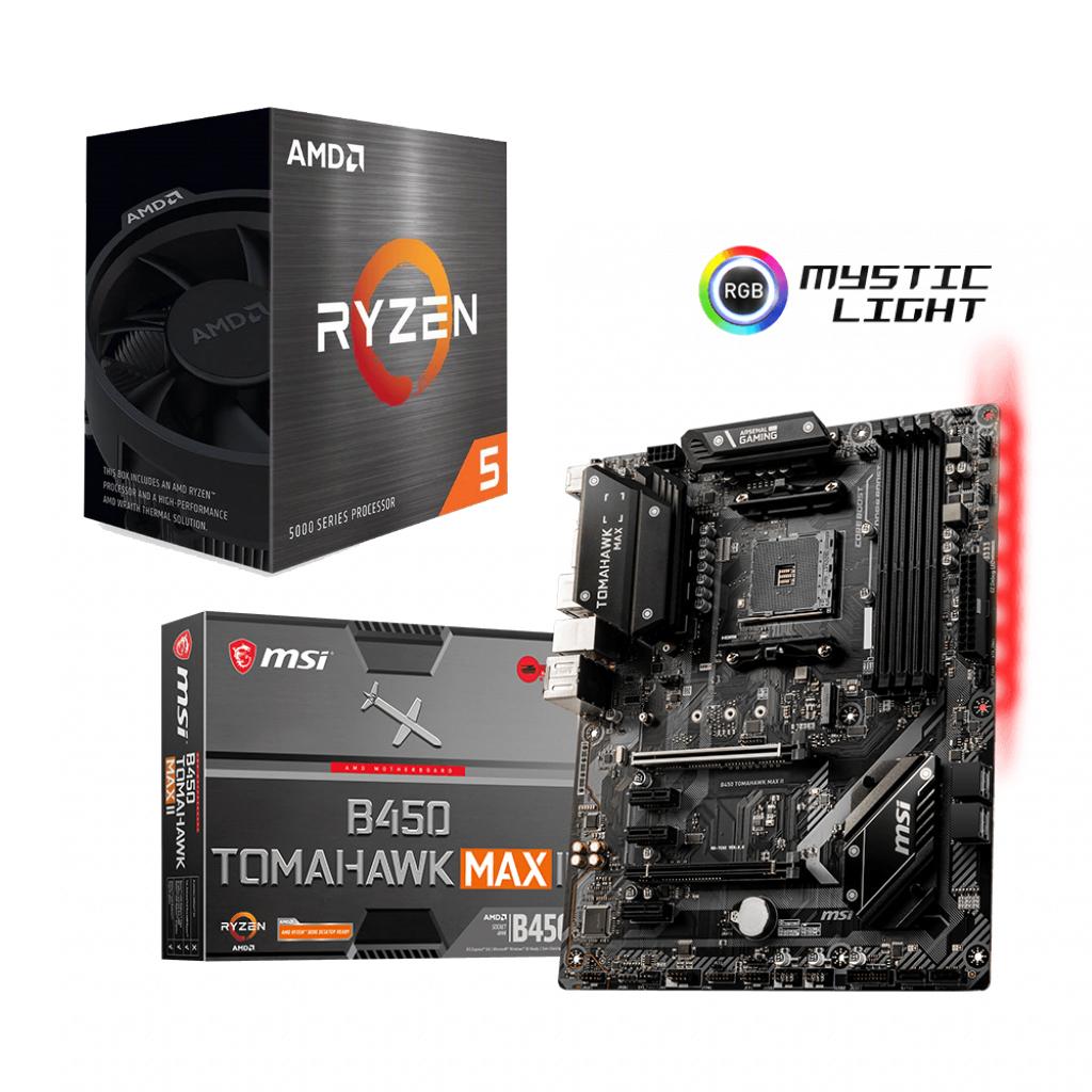 AMD Ryzen 5 5600X CPU + MSI B450 TOMAHAWK MAX II Bundle