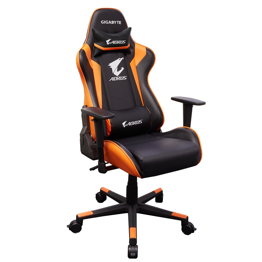GIGABYTE AORUS AGC300 GAMING CHAIR, BLACK/ORANGE, WITH HEADREST AND LUMBAR CUSHION