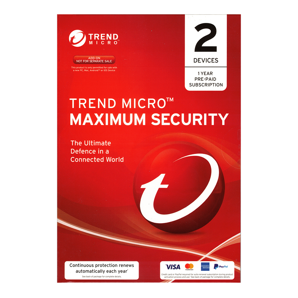 Trend Micro Maximum Security (2 Devices, 1 Year) (CC Req)