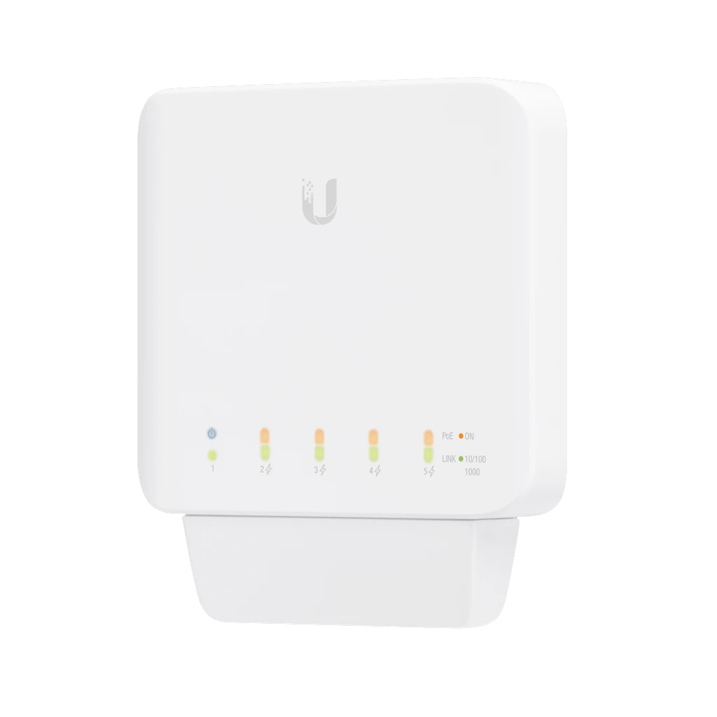 Ubiquiti UniFi USW Flex - Managed, Layer 2 Gigabit switch with auto-sensing 802.3af PoE support. 1x PoE In, 4x PoE Out