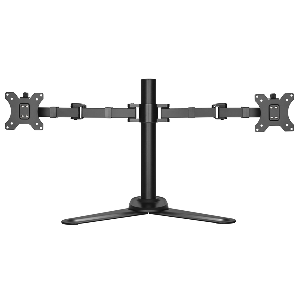 Brateck Dual Free Standing Monitors Affordable Steel Articulating Monitor Stand Fit Most 17'-32' Monitors Up to 9kg per screen VESA 75x75/100x100