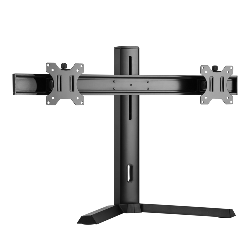 Brateck Dual Free Standing Screen Classic Pro Gaming Monitor Stand Fit Most 17'- 27' Monitors, Up to 7kgp per screen-Black Color VESA 75x75/100x100