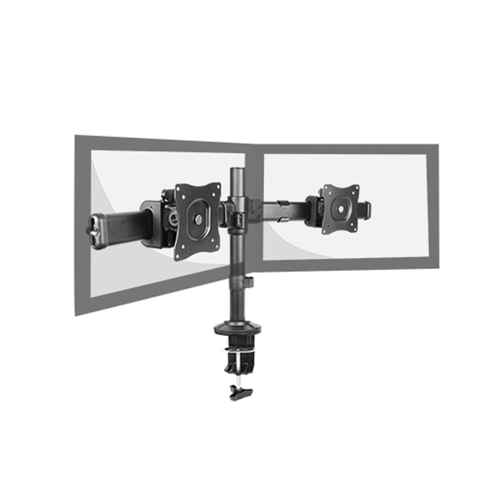 Brateck Dual Monitor Arm with Desk Clamp VESA 75/100mm Fit Most 13'-27' Monitors Up to 8kg per screen